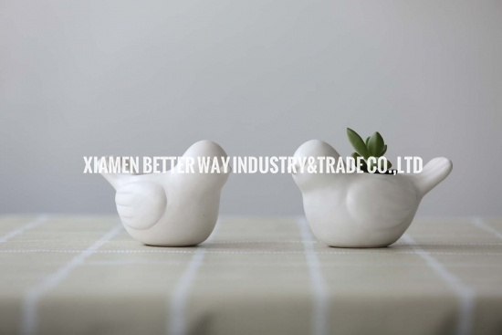 White Cute Bird Ceramic Succulents Pots