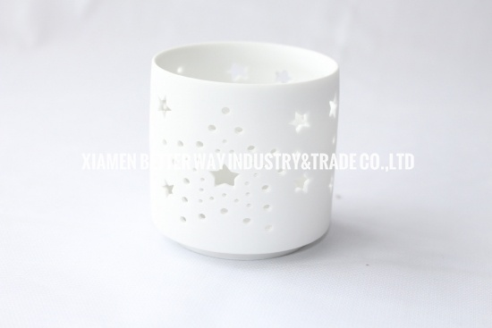 Matt White Ceramic Candle Holder with Stars and Dots