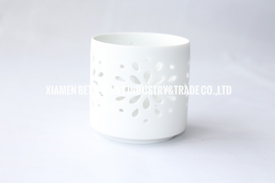 White Ceramic Tea Light Candle Holder Floral Cut Out Design