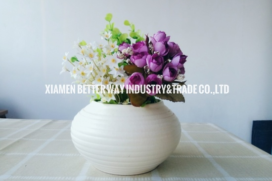 White Matt Ceramic Round Flower pot