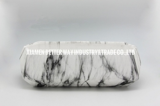 White Geometric Marble Succulent Planter