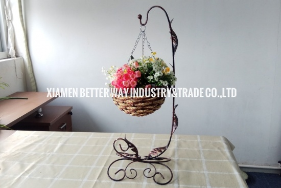 Iron Rattan Straw Basket Flower Vase Countryside Style