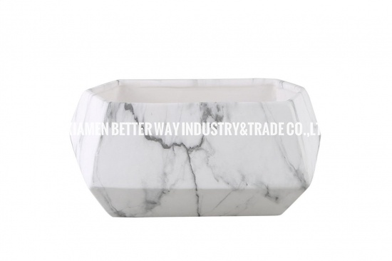 Creative Marble Effect Container Plant Pots Marble Black and White Succulent Planter