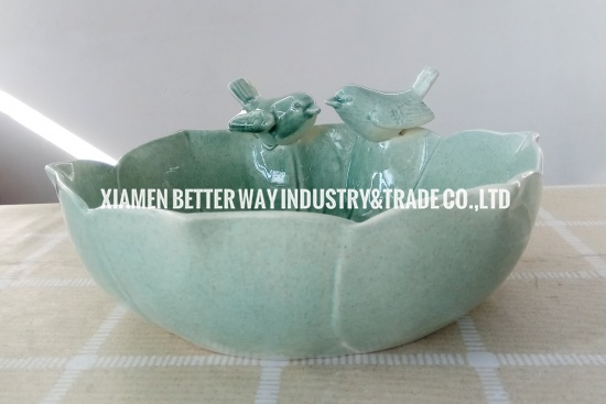 Unique Aqua Glossy Floral Planter Cute Birds Ceramic Succulent Pot