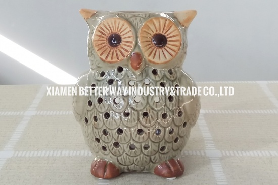 Glossy Ceramic Lovely Owl Essential Oil Warmer Candle Burner