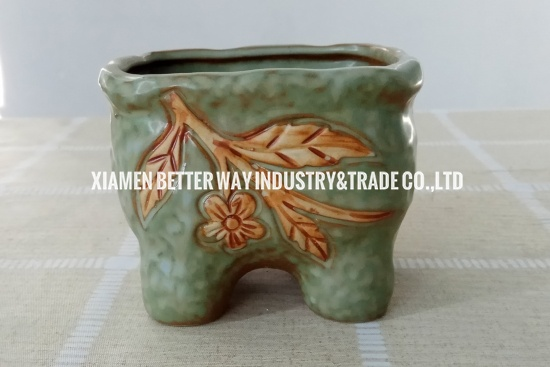 Small Green Succulent Pot With Floral Pattern With Felt Feet