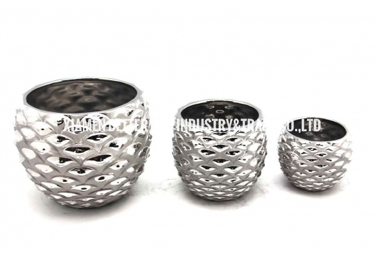 Silver Plated Pineapple Shape Ceramic Plant pots