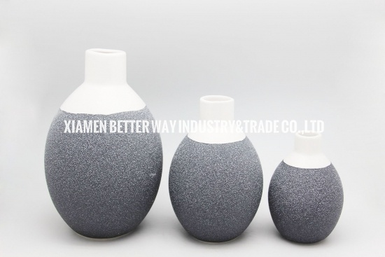 Gray ceramic round vases