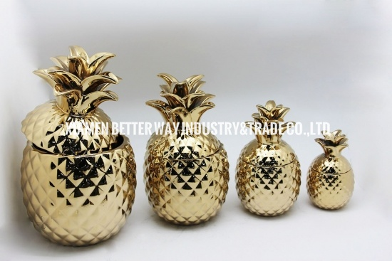Pineapple Plating Gold Ceramic Flower Pot Storage Tank