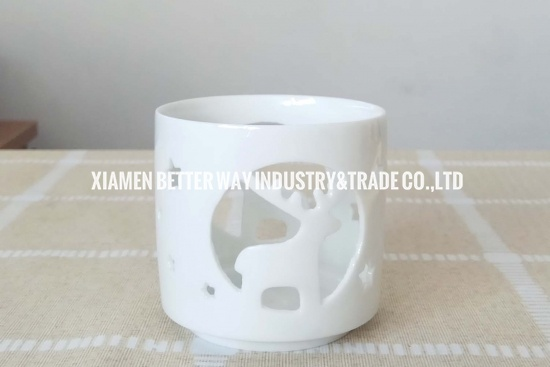 Ceramic White Christmas Deer Candle Holders