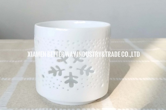 White Ceramic Candle Holder With Snowflake Cut