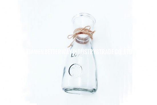 Glass Pretty Love Pattern Plant Bottle