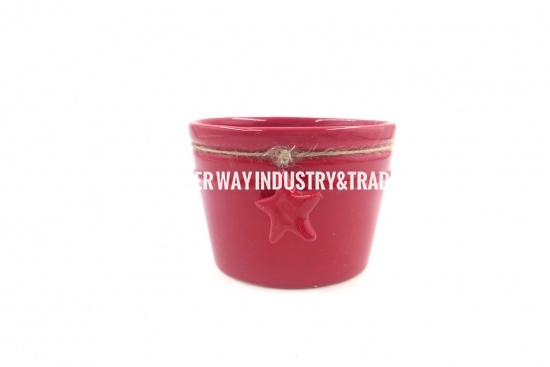 Red Ceramic Flower Pot with Star Decoration