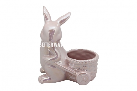 Pink Rabbit Shape Ceramic Flower Pot